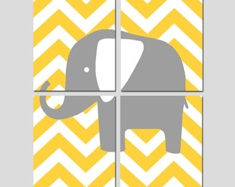 Kids Wall Art - Chevron Elephant - Set of Four 8x10 Prints - CHOOSE YOUR COLORS - Shown in Yellow, Gray, Pink, and More
