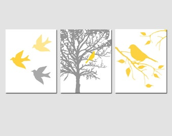 Yellow Gray Bird Art Trio - Nursery Art - Bird in a Tree, Bird on Branch - Set of Three 8x10 Prints - Choose Your Colors