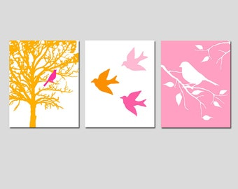 Modern Bird Trio - Set of Three 8x10 Prints - Birds, Branches, Trees - Nursery Art - Choose Your Colors - Shown in Pink, Orange, and More