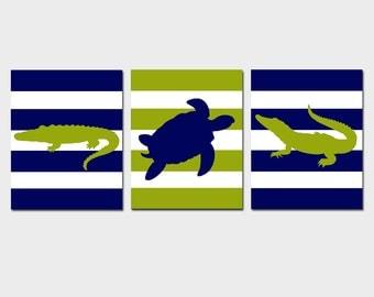 Modern Alligator Turtle Stripe Nursery Art Baby Boy Nursery Decor Trio - Set of Three 11x14 Nursery Prints - CHOOSE YOUR COLORS