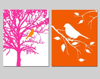 Bird in a Tree and Bird on a Branch - Set of Two 8x10 Prints - Bathroom, Nursery - CHOOSE YOUR COLORS - Shown in Hot Pink and Red Orange