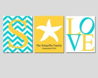Family Love - Set of Three 11x14 Nautical Prints - Chevron Monogram, Family Established, LOVE - Seahorse, Anchor, Starfish - Choose Colors