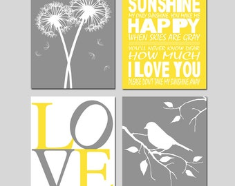 Set of 4 Prints – Four Prints for a Yellow and Grey Nursery featuring Dandelion Art, You Are My Sunshine Art, Love Art, & Bird Art
