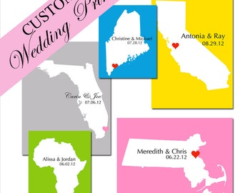 Personalized Love Wedding Location Map 5x7 Custom Print - WEDDING GIFT, Guestbook, Anniversary Gift, Housewarming - Sample Shown is Antigua