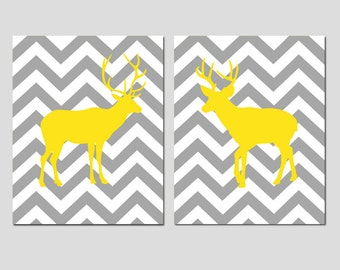 Chevron Deer Art - Teen Room Decor Set of 2 Prints - 11x14 - CHOOSE YOUR COLORS - Shown in Yellow, Gray and More