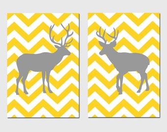 Chevron Deer - Set of Two 13x19 Chevron Zig Zag Deer Silhouette Prints - CHOOSE YOUR COLORS - Shown in Yellow, Gray, and More