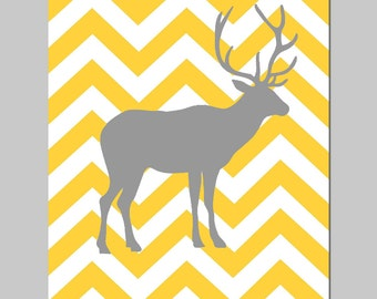 Modern Chevron Deer Silhouette Print - 11x14 - Kids Wall Art for Nursery - CHOOSE YOUR COLORS - Shown in Hot PInk, Yellow, Gray and More
