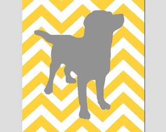 Chevron Labrador Puppy Dog Silhouette Print - 11x14 Chevron Zig Zag - Kids Wall Art for Nursery - Choose Your Colors - Yellow, Gray, More