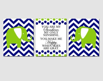 Elephant Nursery Art Trio - You Are My Sunshine, Chevron Elephants - Set of Three 11x14 Prints - CHOOSE YOUR COLORS