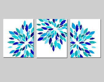 Modern Abstract Painterly Floral - Set of Three Large Scale 8x10 Floral Art Prints - Home Decor - Choose Your Colors