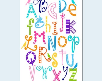 Bird Alphabet - Nursery Art Baby Girl Nursery Decor - 11x17 Print - CHOOSE YOUR COLORS