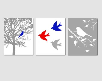 Modern Nursery Bird Trio - Set of Three 8x10 Nature inspired Prints - Birds, Trees - CHOOSE YOUR COLORS - Shown in Red, White, Blue, Gray