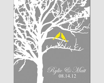 Lovebird Wedding Tree - 8x10 Customizable Print - Choose Your Colors - Shown in Gray, Yellow, Blue, Pink - GREAT WEDDING GIFT