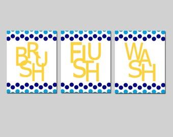 Kids Bathroom Wall Art Print Set - Pick THREE 11x14 Polka Dot Prints - Wash, Brush, Soak, Splish, Splash, Flush - Choose Your Colors