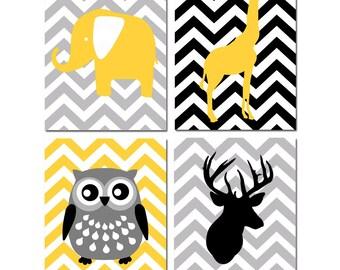Modern Nursery Art - Set of Four 8x10 Prints - Chevron Animals - Deer, Owl, Elephant, Giraffe - CHOOSE YOUR COLORS - Shown in Yellow, Gray
