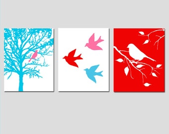 Modern Bird Trio - Set of Three 11x14 Prints - Modern Nursery Art - CHOOSE YOUR COLORS - Shown in Hot Pink, Red, Blue, and White
