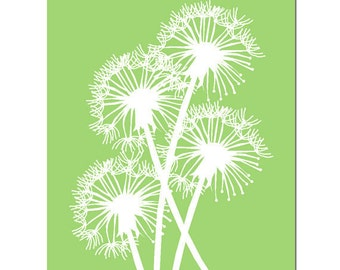 Dandelion Group - 8x10 Floral Print - CHOOSE YOUR COLORS - Shown in Yellow, Neutral Tan, Apple Green, Aqua, and More