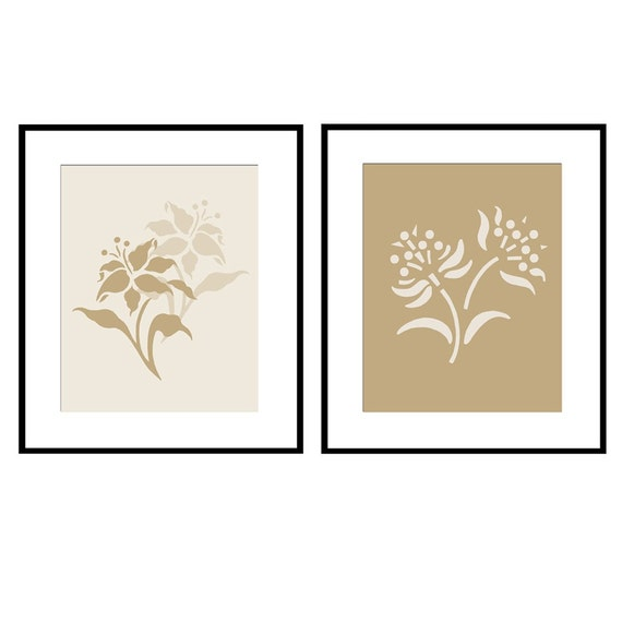 Floral Duo - Set of Two 8x10 Flower Prints - Choose Your Colors - Shown in Neutral Cream, Tan and Beige