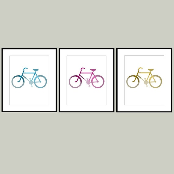 Kids Wall Art - I Love Bikes - Set of Three 8x10 Bicycle Prints - CHOOSE YOUR COLORS - Nursery or Childrens Decor
