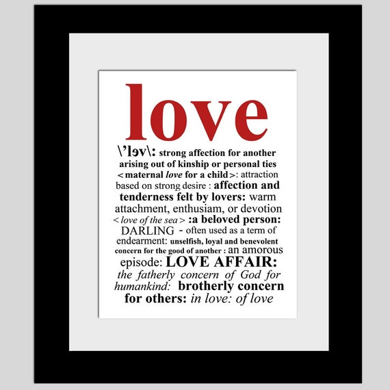 Love Definition 11x14 Typography Print With Typed Definition