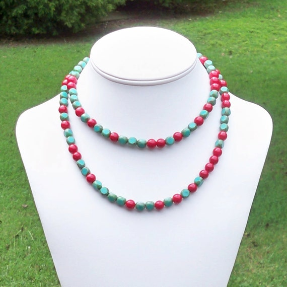 Janet - Long Coral Red and Faceted Turquoise Czech Glass Gemstone Beaded Necklace - Can Be WORN MULTIPLE WAYS
