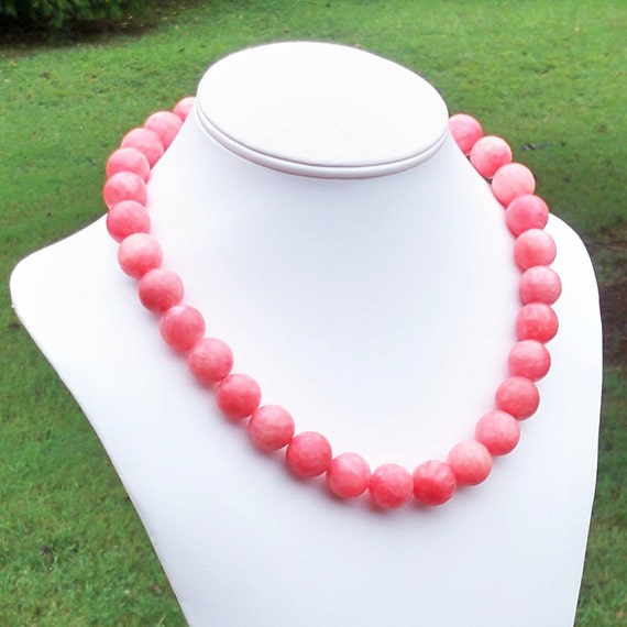 Kira - Chunky Coral Red 16mm Round Jade Gemstone Beaded Necklace