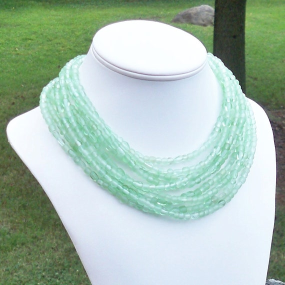 Colli -  Extra Long Layered Green Glass Beaded Necklace - Can Be WORN MULTIPLE WAYS