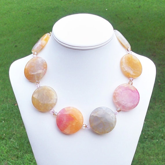 Sabrina VI - GORGEOUS Chunky 38mm Round Pink Multicolor Agate Gemstone Beaded Necklace - Southern Living Magazine