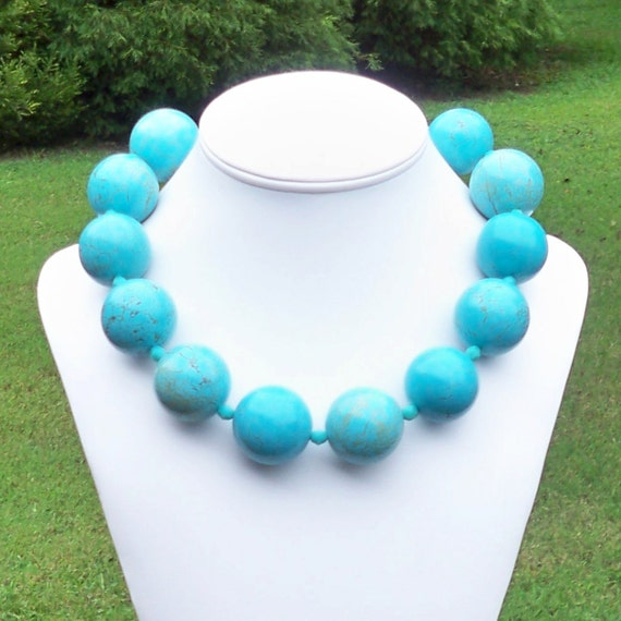 Diaz - HUGE 30mm Round Blue Turquoise Gemstone Beaded Necklace - STATEMENT
