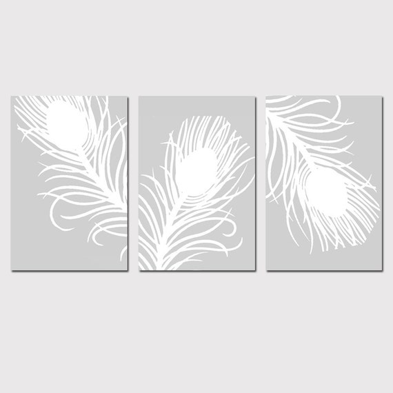 Modern Peacock Feather Trio - Set of Three 4x6 Coordinating Prints - CHOOSE YOUR COLORS - Shown in Pale Gray and White