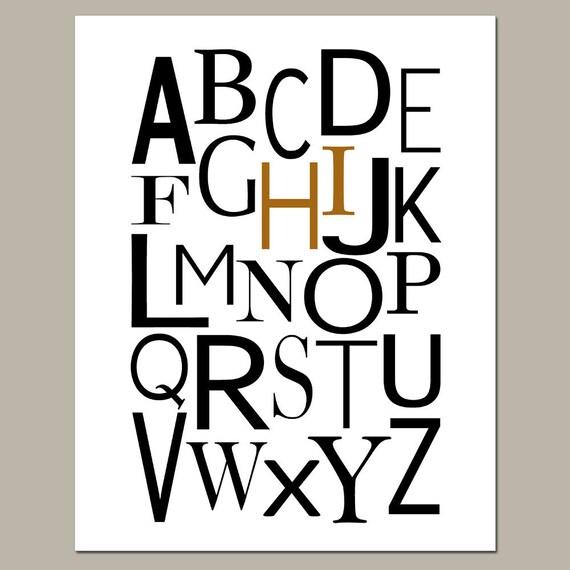 Alphabet Nursery Art - 11x14 Modern Print - Hi - Wall Art Home or Nursery Decor - Choose Your Colors