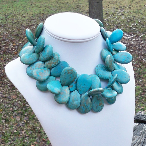 Tony - Super Chunky, 32mm Gold Flecked Turquoise Teardrop Howlite Gemstone Beaded Necklace - Tribal, Ethnic, Statement