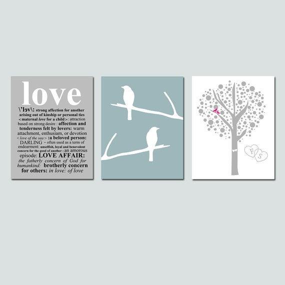 Lovers Tree, Love Birds, Love Definition Trio - Set of Three 11x14 Coordinating Prints - Choose Your Colors - GREAT WEDDING GIFT