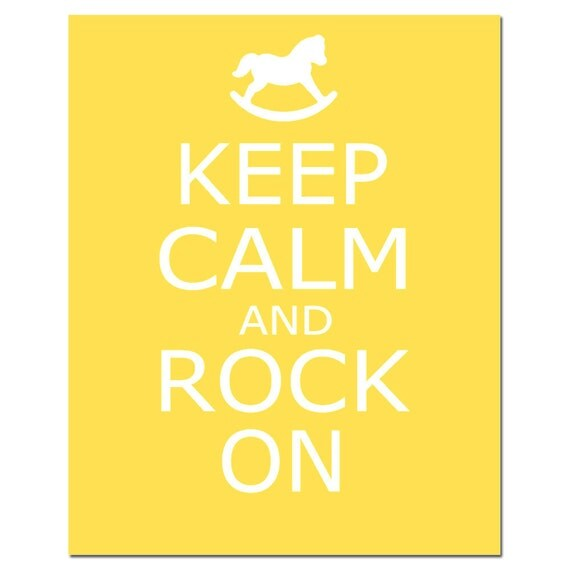Keep Calm and Rock On - 11x14 Inspirational Nursery Quote Print - Rocking Horse Silhouette - Kids Wall Art - CHOOSE YOUR COLORS