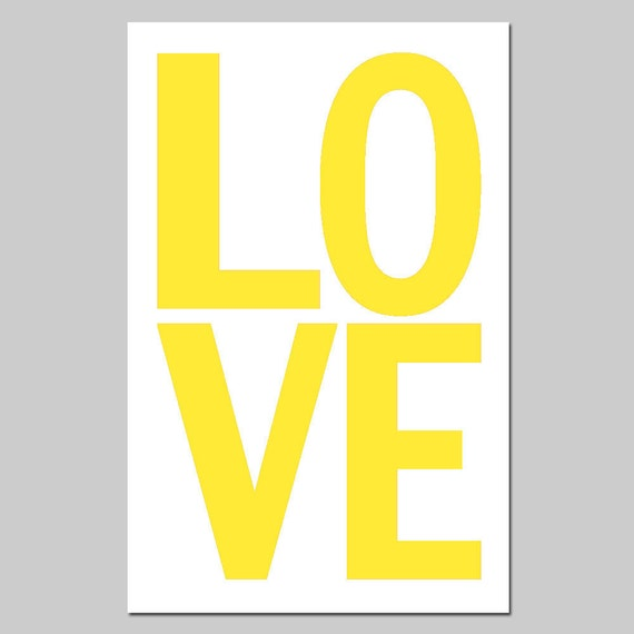 LOVE - 13x19 Large Modern Typography Print - Nursery Wall Art - Choose Your Colors - Shown in Lemon Yellow, Red Black, Light Pink, and More