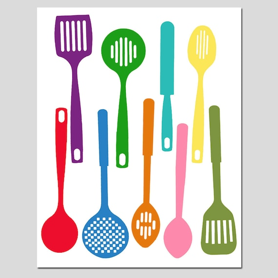 Kitchen utensils spatula collection 11x14 silhouette print for Colorful kitchen tools