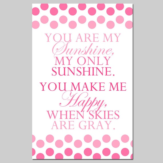 You Are My Sunshine Nursery Art Decor - Large 13x19 Polka Dot Print - Mixed Font - CHOOSE YOUR COLORS
