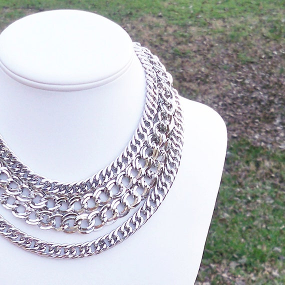 Karlie -  Modern Chunky Silver Chain Link Necklace - Quadruple Layer - Inspired By Michael Kors Holiday Ad Campaign