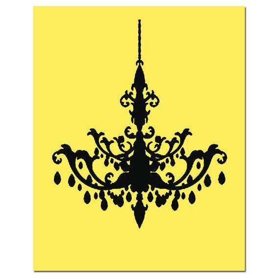 Chandelier - 8x10 Print - Modern Chandelier Silhouette - Kitchen, Bathroom, Nursery - CHOOSE YOUR COLORS