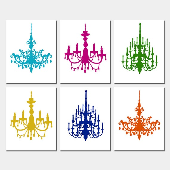 Modern Chandelier Silhouette Art - Set of Six Coordinating 8x10 Prints - CHOOSE YOUR COLORS - Shown in Jewel Tones