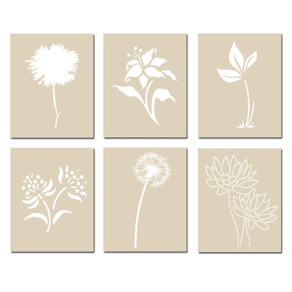 Modern Floral Silhouette Collection - Set of Six 8x10 Coordinating Botanical Floral Prints - CHOOSE YOUR COLORS - Shown in Taupe and White