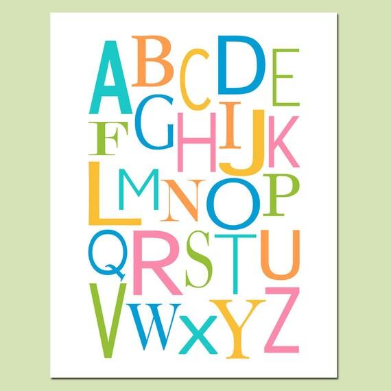 Modern Alphabet Nursery Decor - 11x14 Print - Kids Wall Art Art for Nursery or Playroom - CHOOSE YOUR COLORS