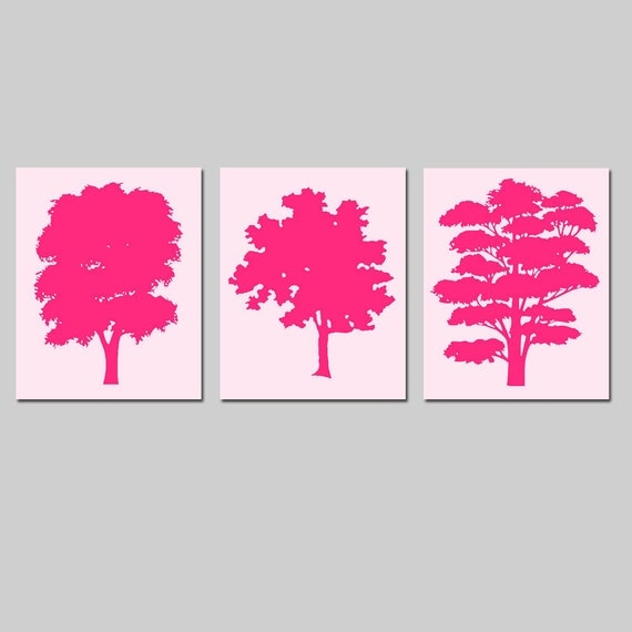 Abstract Trees Nursery Art Nursery Decor Trio - Set of Three 8x10 Prints - CHOOSE YOUR COLORS - Shown in Hot Pink and Pale Pink