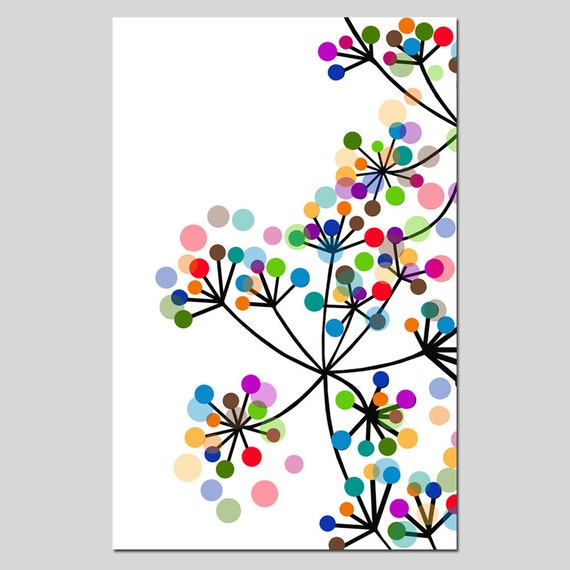 Modern Colorful Botanical - 11x17 Large Print - Original Design - Dots, Floral, Geometric