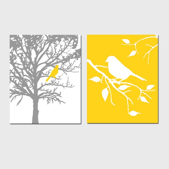 Birds and Trees - Set of Two 11x14 Prints - Bathroom, Nursery, Kitchen - CHOOSE YOUR COLORS - Shown in Gray, Yellow, Orange, Red, Aqua