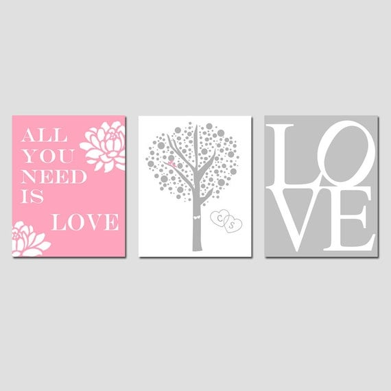 Lovers Tree, Love, All You Need Is Love Floral Quote - Set of Three 8x10 Prints - Choose Your Colors - GREAT WEDDING GIFT