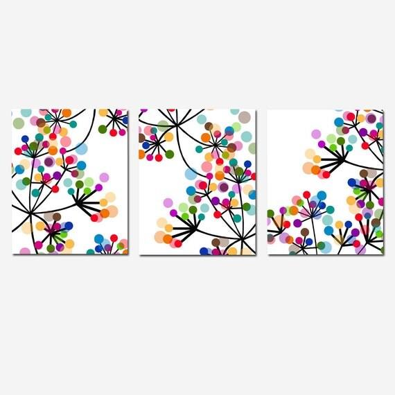Modern Abstract Botanical Floral Trio - Set of Three 11x14 Prints - Black, White, Red, Purple, Orange, Blue, Aqua, Yellow, Brown, Green