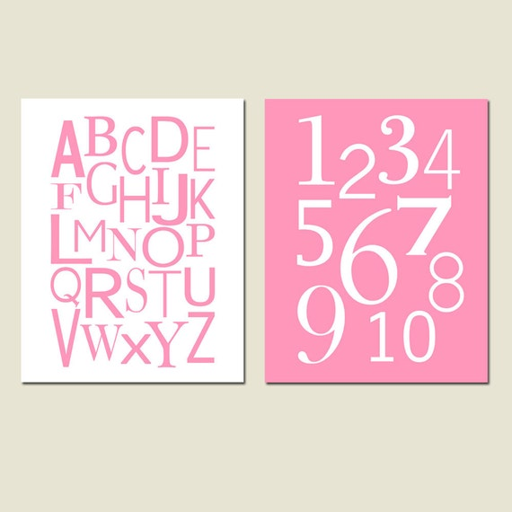 Alphabet and Numbers - Set of Two 11x14 Prints - Kids Wall Art - Nursery - CHOOSE YOUR COLORS - Shown in Pink, Yellow, and More