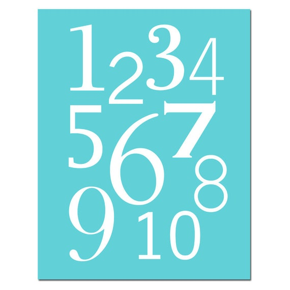 Modern Numbers - 8x10 - Kids Wall Art for Nursery or Playroom - Educational, Learning - One Through Ten - Choose Your Colors