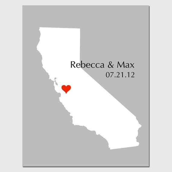 Personalized Love State Map 8x10 Custom Print - Wedding Poster, Guestbook, Anniversary, Engagement, Housewarming - GREAT WEDDING GIFT